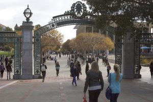 Famous entrance to the thriving UC Berkeley Campus home to the best in education